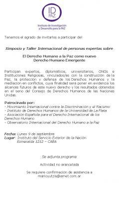 """Simposio """"El Derecho Humano a la Paz como nuevo Derecho Humano Emergente"""""""